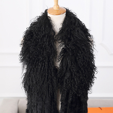 2015 New Hand Knitted Women Long Rabbit Fur Vest With Mongolian Lamb Fur Collar