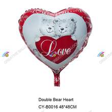 Factory supply heart shape advertising balloon party decorations two lave bears
