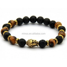 Mixed Tiger Lava Bead Bracelet, Nature Stone Customized Bracelet, Elastic Bracelet For Unisex
