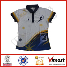 custom girl's polo shirts/dye sublimation sports clothing factory