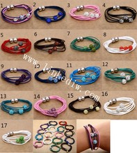 Genuine Leather multilayer bracelet with Crystal 10mm beads magnetic clasp factory price