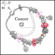 Cheap gift item12 zodiac signs Cancer european charms women bead bracelet jewelry