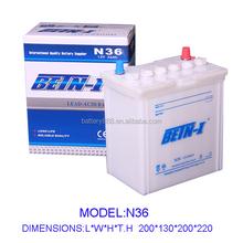 12V Dry charged Car Battery 12V36AH