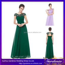 Graceful High Quality Lace Decorated High Neck Keyhole Back A-line Floor Length Chiffon Evening Dress With Sleeve (SA901)