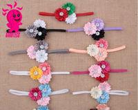 Baby Satin Ribbon Flower Headband with Pearl Infant with Pearl Infant Elastic Slim Headbands Toddler Hairband Photo Props