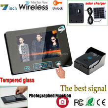 "2014 newest product 7"" wireless smart home system home automation video doorbell with solar charger"