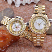 luxury gold diamonds watch for lovers
