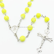 2015 new jewelry fluorescent colors necklace beaded rosary chain necklace
