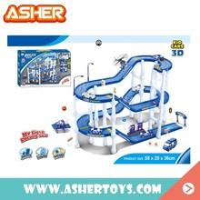 1 Car And 3 Aircraft Inside Track Parking Lot Police Station Parking Play Set