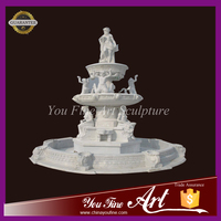 Outdoor Decoration 2 Tier Marble Water Fountain With Figure