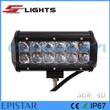 waterproof 7inch 4D 36w led working light bar for offroad auto light 4wd heavy duty machine utv