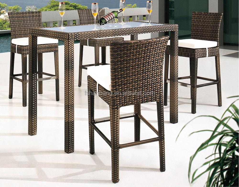 New Design Hotsale Modern bar stool high chair & Outdoor Patio Plastic Resin Rattan Weaving Wicker High Back Bar ...