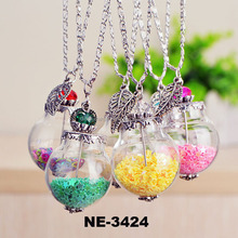 Small dry dried flower and lavender DIY Global Glass Bubble Glass pendant long chain necklace