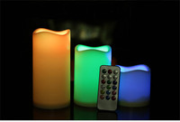 3 PCS/BOX Remote Control Flameless Color Changing Led Candle With Good Smell