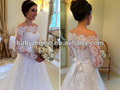 2014 recién llegado Vestidos De Noivas fuera del hombro de manga larga de encaje vestidos de novia