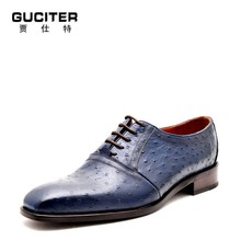 Goodyear shoes ostrich skin men's leather shoes Derby handmade custom real animal leather dress shoes high-end Fashion shoes