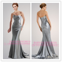 Ready To Ship! Discount 2014Sexy High Quality Cheap Designer New China Supplier Silver Sleeveless Ruched Long Evening Prom Dress