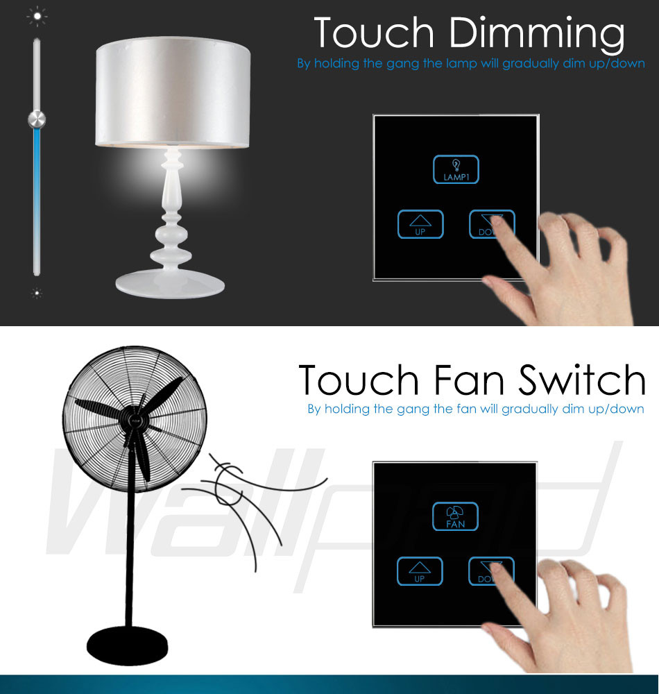 Hot Sales 4 Gang Remote Wallpad Black Tempred Glass Switch Led Ligh Double Way Light Rf Control 07