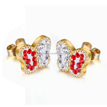 Hot Sale Red Crystal Earring Stud Stainless Steel Earring Wholesale With Pricelist