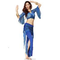 Peacock Pattern Belly Dance Costume Practice Set Bra Top + Pants