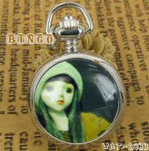 Watch Pendant Necklace With Girl On The Face