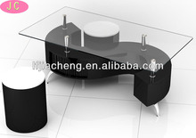 Contemporary S Shaped Black Glass Coffee Table with Two Stools