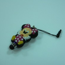 2014 hot sell novelty soft pvc cute touch pen with dust plug
