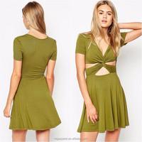 OEM China wholesale women clothing short sleeve twist front jersey skater dress