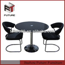 tempered glass black round dining table sets