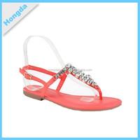wholesale latest design girls flat sandles with orange color