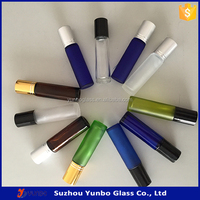 8ml 10ml empty roll on glass bottles amber blue green yellow purple and clear colors