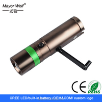 most powerful emergency dynamo hand crank led flashlight for camping