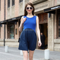 HJL-C1111 Veri Gude 2015 Summer ladies fake two piece midi sleeveless striped dress