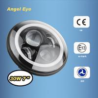 7'' H13 LED Headlamp H4 Round LED Headlight with Angel Eye Halo Ring for Jeep Wrangler