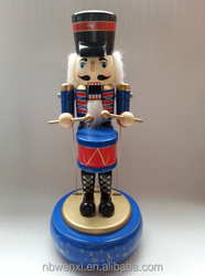 Wooden nutcracker music box gifts for home ornament