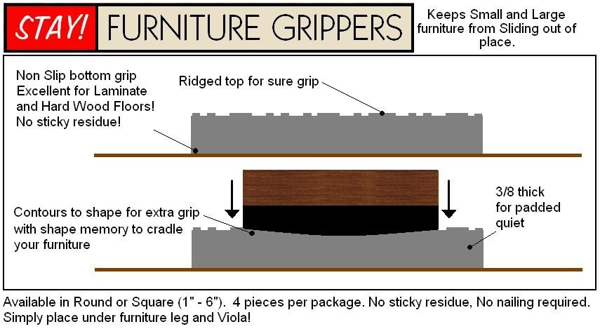 Stay furniture grippers for Furniture grippers