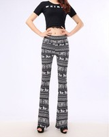 Wholesale Milk Silk Leggings Printed Black And White High-Waist Sexy Tight Flared Trousers 9555