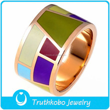 New Stainless Steel Women Charm Colourful Enamel Ring Stainless Steel Jewelry Set Fashion Women Ring