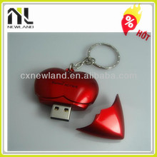 Top selling gifts lucky red heart bulk 1gb usb flash drives with key chain