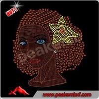 Beautiful Afro Girl Rhinestone AEO Greek Letters Transfers Iron On Wholesale
