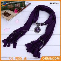 New Arrival Jewel Beads fashion Pendant Scarf with Crystal Charm