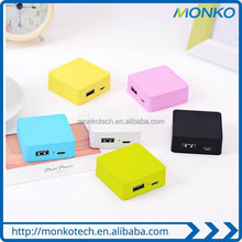 Candy Color Square 2600mAh power bank18650 battery usb mobile charger