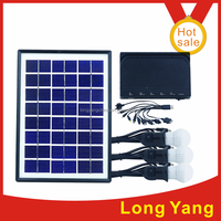 Mini 5W 12V solar LED light kit system with DC fan and mobile phone charge