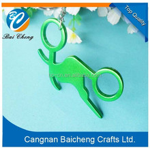 2015 custom made in China green plated bottle openers with key rings for hanging on the bags and pens in lightful weight