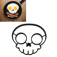 2015 kitchen tool unique design Silicone Rubber egg mould Non-stick Skull Eggs Fried Frying Mould Pancake Mold black