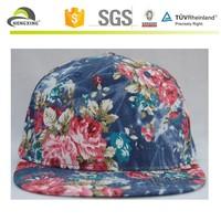 Floral 5 Panel All Over Print Denim Vintage Blank Snapback Hats Wholesale