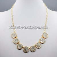 2014 China wholesale Dubai jewelry fashion gold plated shiny rhinestone sun pendant necklace in latest design