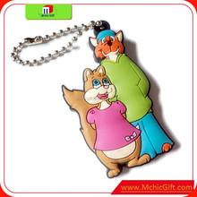 Custom cheap Eco-friendly 2D cartoon plastic rubber pvc keychain