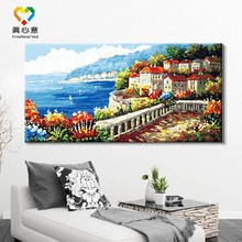landscape oil painting by numbers seaside building canvas painting diy canvas painting