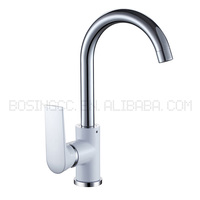 Exquisite chrome kitchen water tap lock with flexible hoses